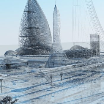 3D illustration. The city of the future