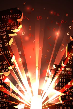 Abstract Futuristic Cyberspace With A Hacked Array Of Binary Dat
