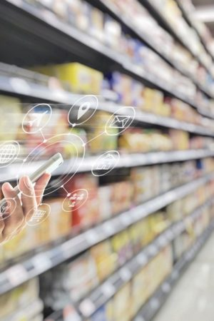 Omni-channel digital marketing on mobile smartphone app for supermarket grocery shopping via internet banking service application in people lifestyle