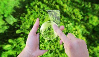 future smart phone green background
