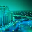 Internet of Things. Futuristic technology background,Cyberspace game city.3d rendering