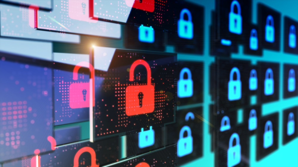 Smart security database technology – Unlocked security padlock