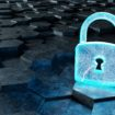 Black and blue padlock icon on hexagons background 3D rendering