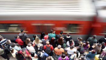 busy train station – rush hour – speed