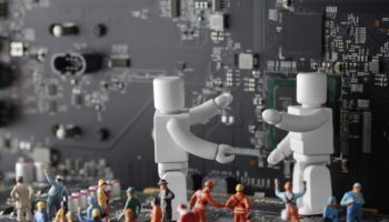 コンピユーターと人間とロボットが共存する未来社会