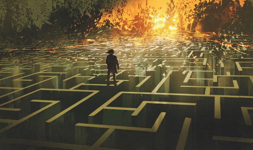 Destroyed Maze Concept Showing The Man Standing In A Burnt Labyr