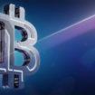 Hi-tech Bitcoin symbol on blue background. 3D illustration. Mode