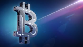 Hi-tech Bitcoin symbol on blue background. 3D illustration. Mode
