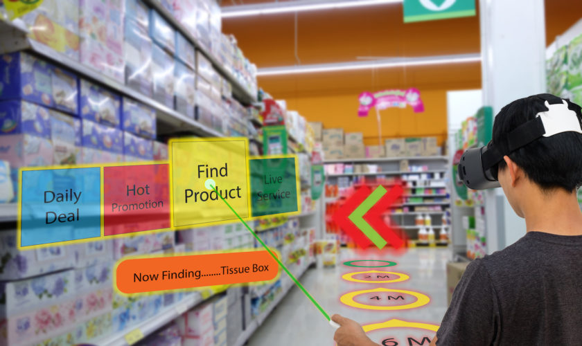 Smart retail with augmented and virtual reality technology concept, Customer use ar and vr glasses to search a daily deal,hot promotion, find product, contact service center in the retail