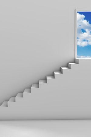 Steps and door
