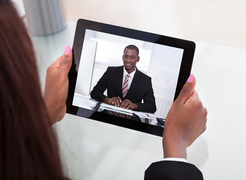 Businesswoman Attending Video Conference